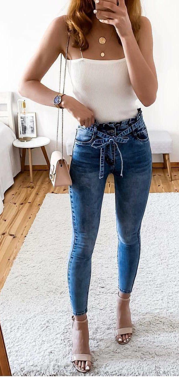 57e717edaa white spaghetti-strap shirt  summer  outfits style on Stylevore