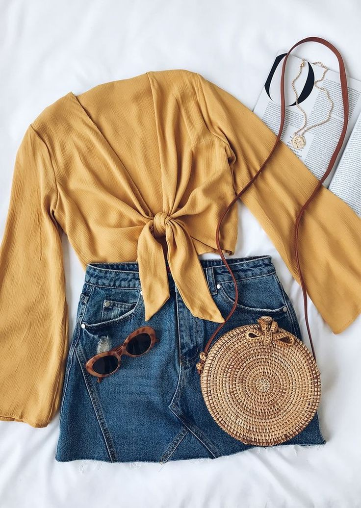 Denim skirt yellow top outfit