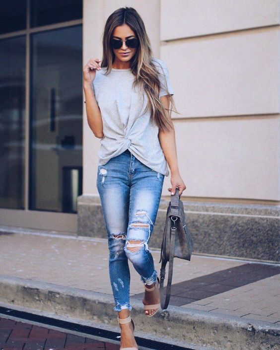 Slim-fit pants,  Ripped jeans