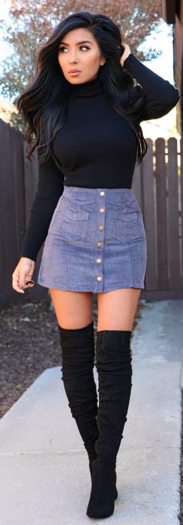 Cute Denim Skirt Outfits on Stylevore