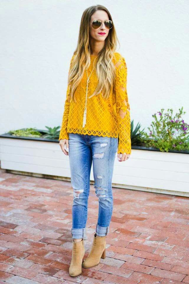 Yellow lace top outfit