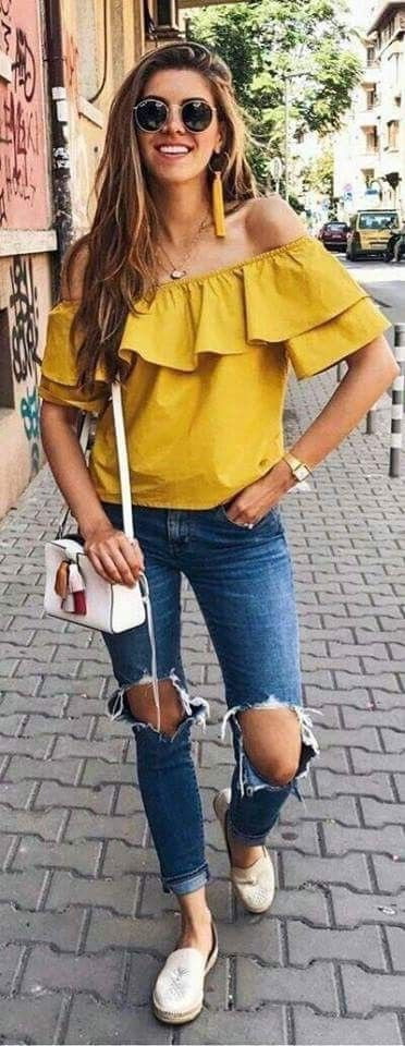 Off The Shoulder Top, Yellow Outfit