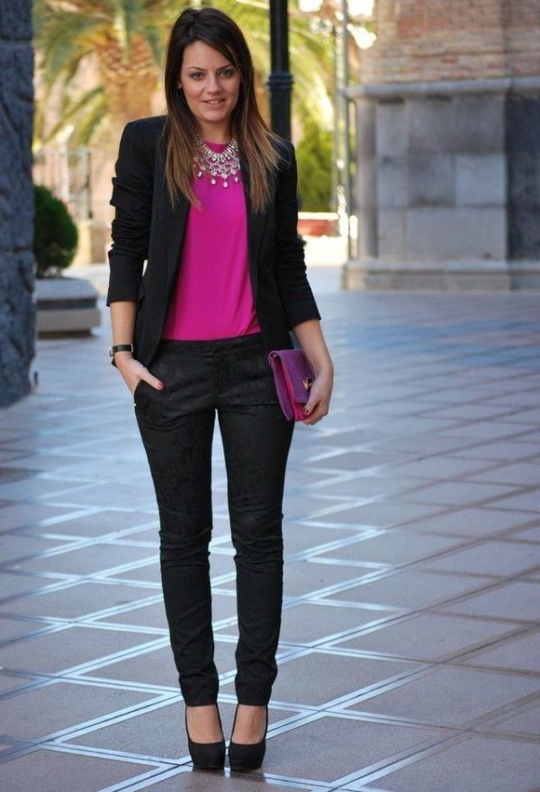 Black and pink office outfit