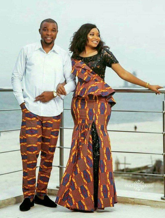 African print couple matching