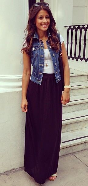 cheap sale new list look out for Denim jacket with long skirt on Stylevore
