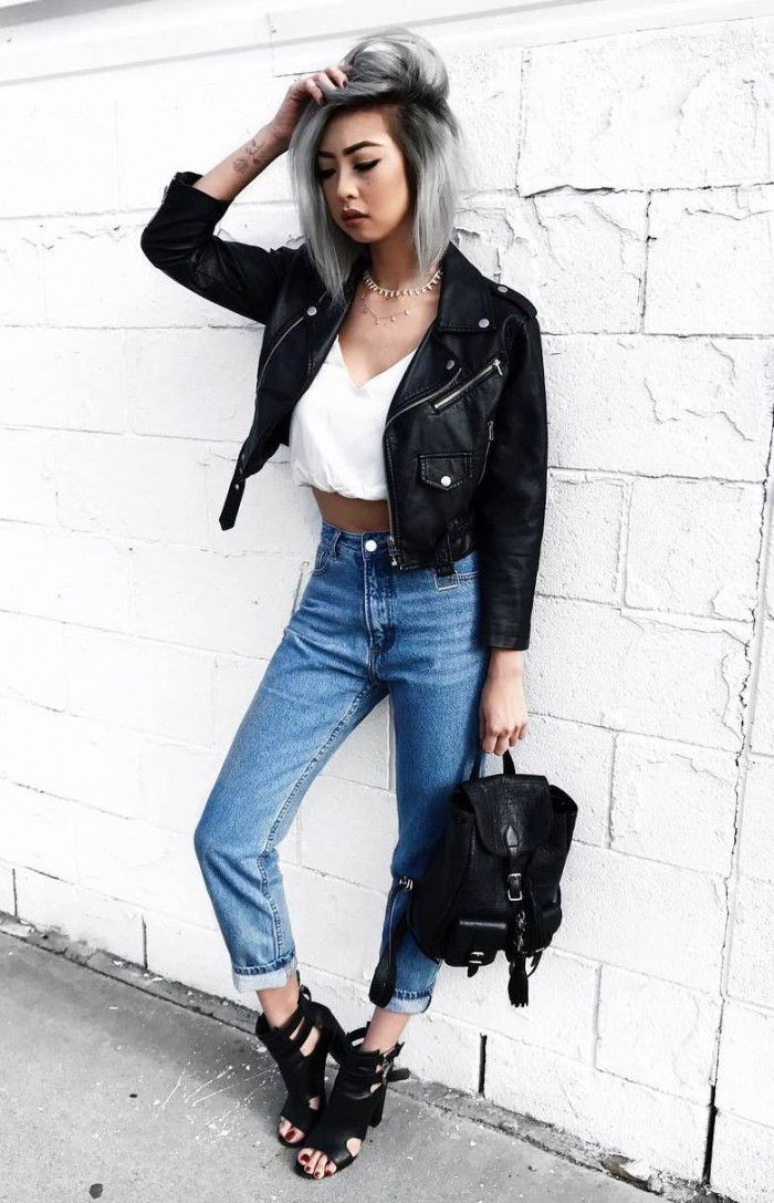 Leather jacket,  Mom jeans