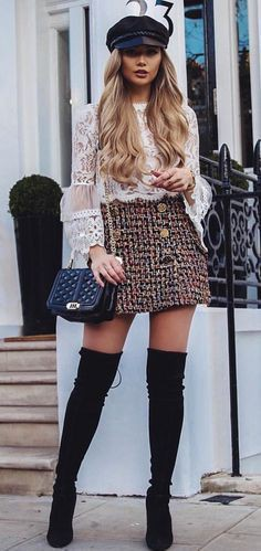 Knee High Boots Outfit Winter On Stylevore
