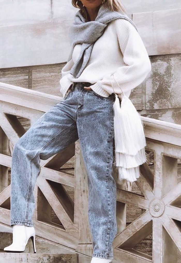how to style a tassel bag : scarf white sweater