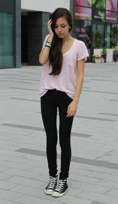 Black high top converse outfit