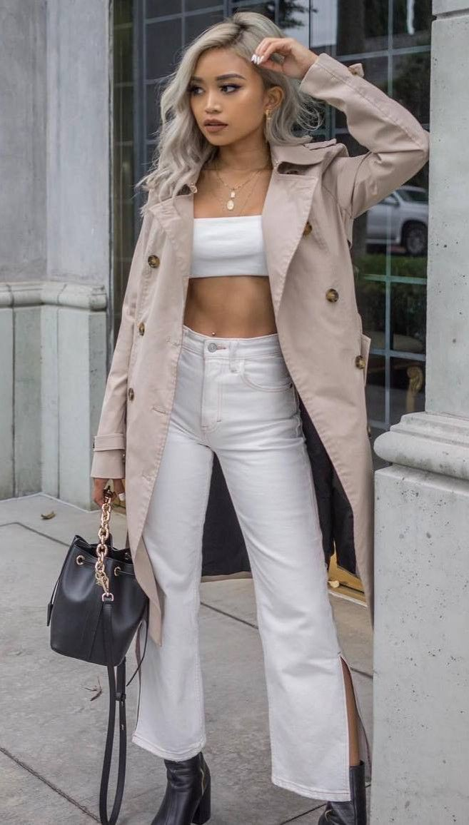 Fashion model, Trench coat, Crop top