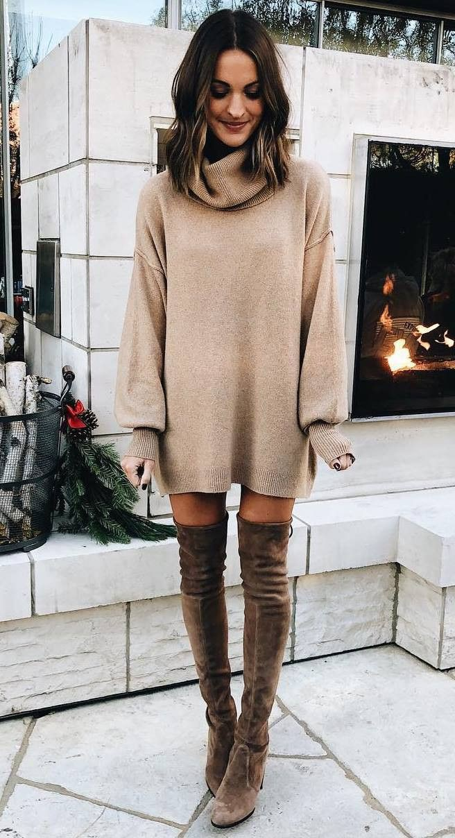 Winter dress with knee high boots