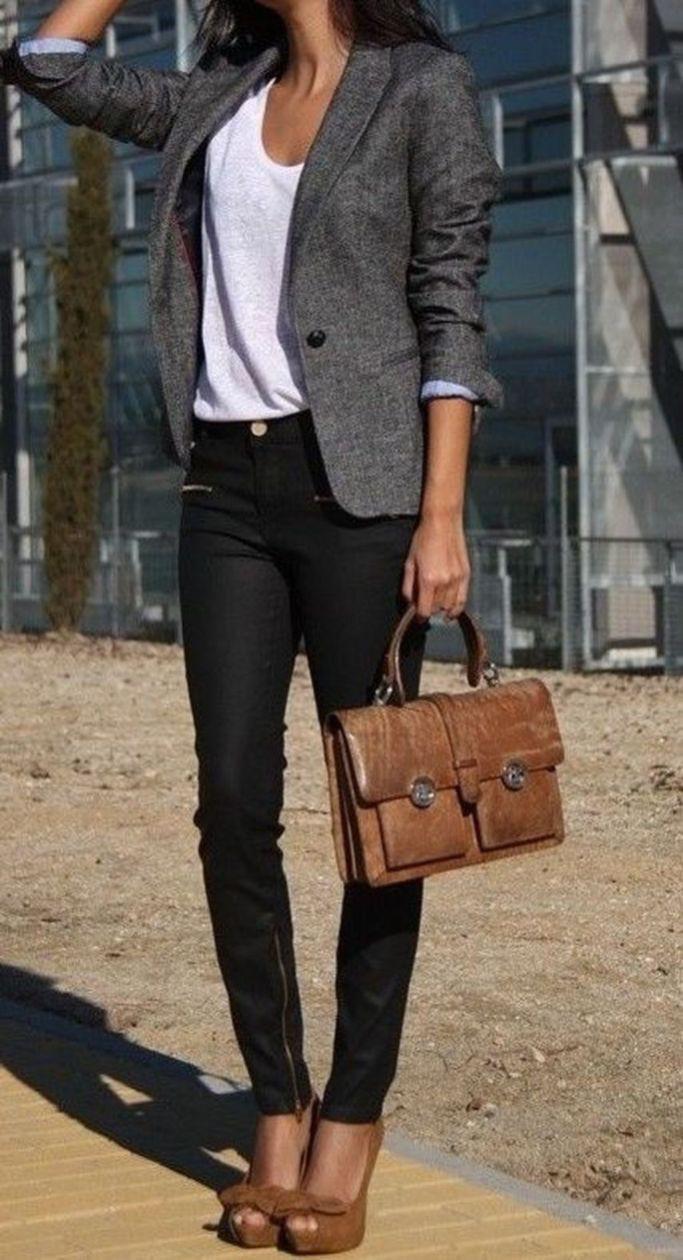 Woman grey blazer black pants