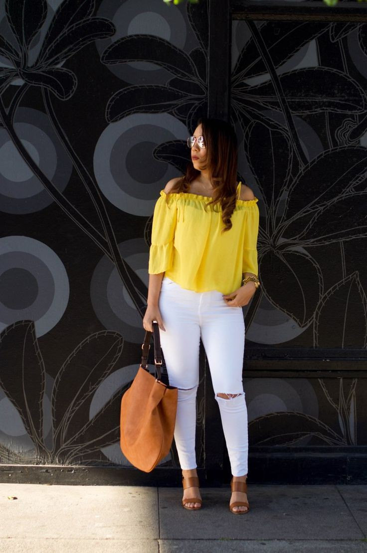 Yellow and white outfit for ladies