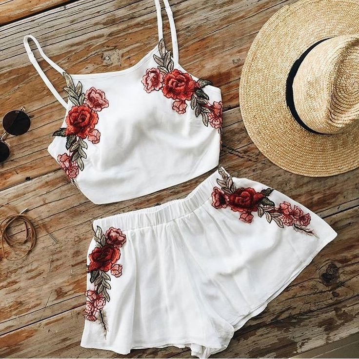 Floral embroidered two piece