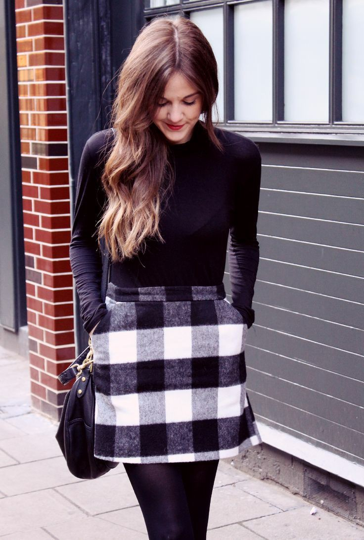 Black and white checked skirt outfit