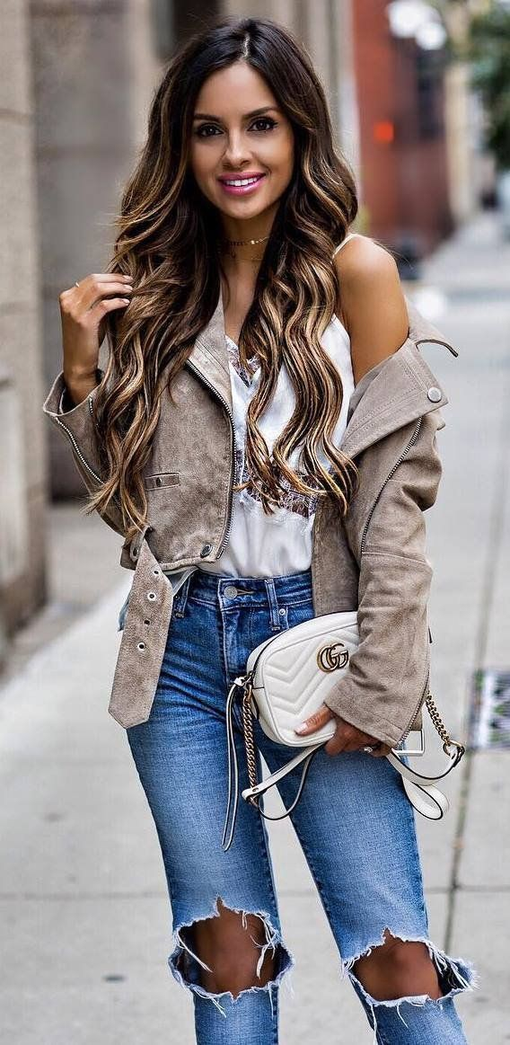 Cute outfits with ripped white jeans
