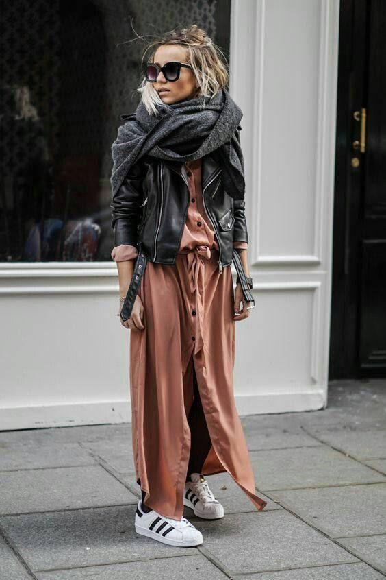 Long dress and leather jacket
