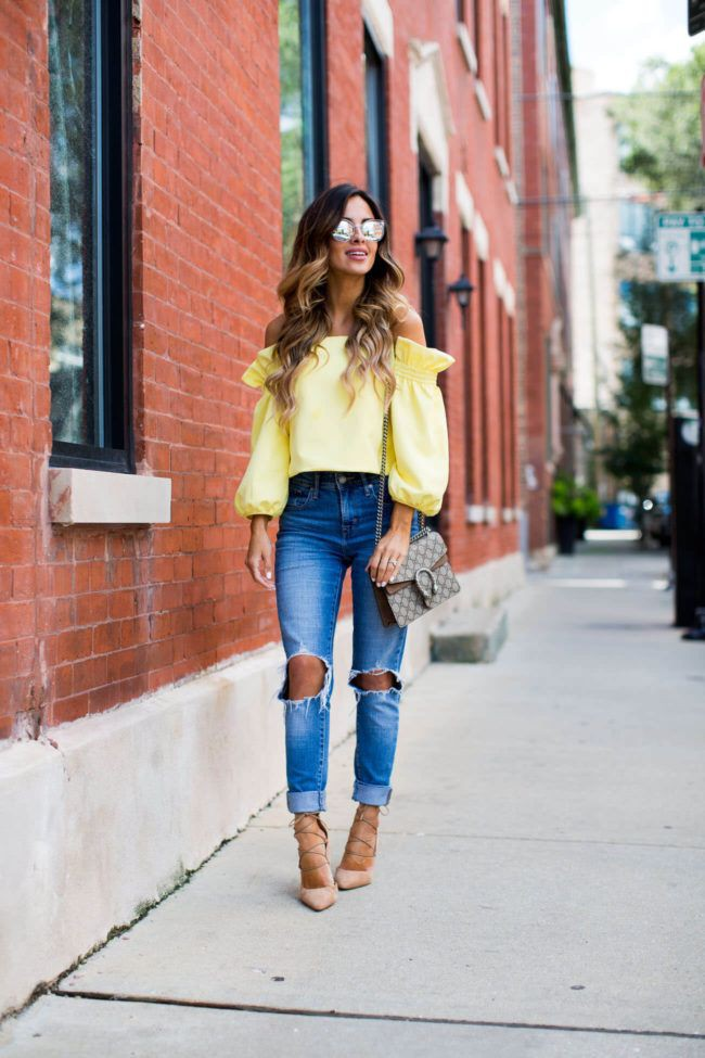 Yellow off the shoulder top outfits