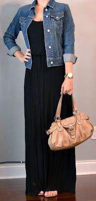 Black maxi dress with denim jacket
