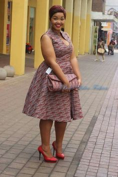 Plus size shweshwe dress