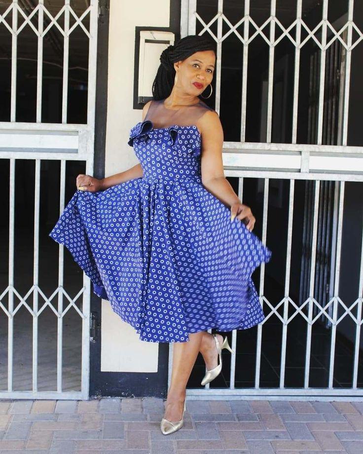 Shweshwe dresses, Cocktail dress, Polka dot