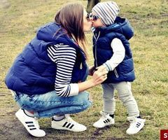 Adidas superstar mom and son