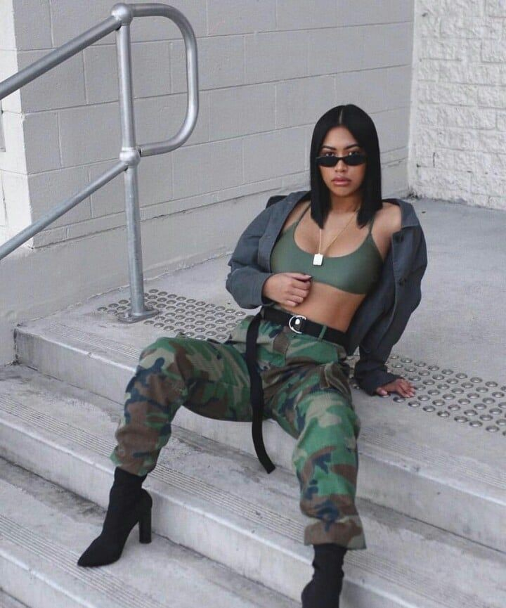 Military Look For Girls, Hip hop fashion, Little black dress