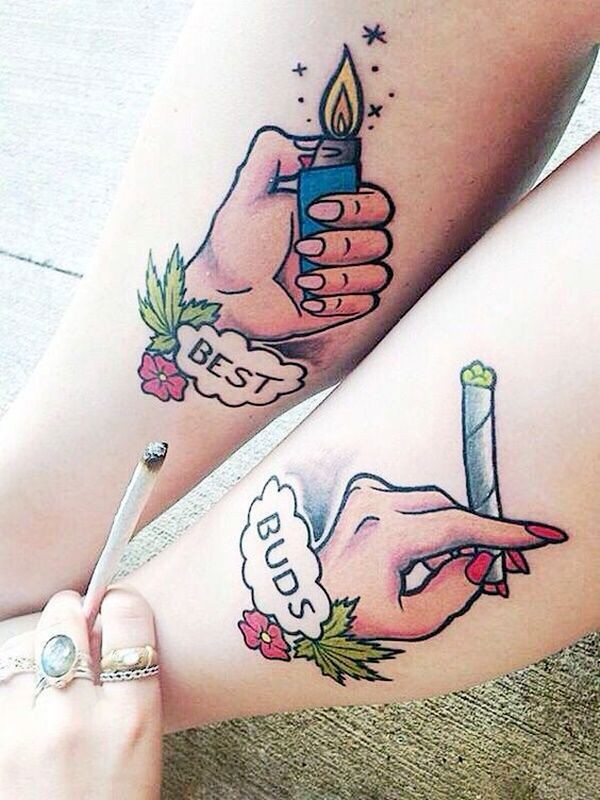 Charming and stylish best buds tattoo