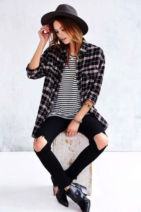 Flannel with striped shirt, Casual wear