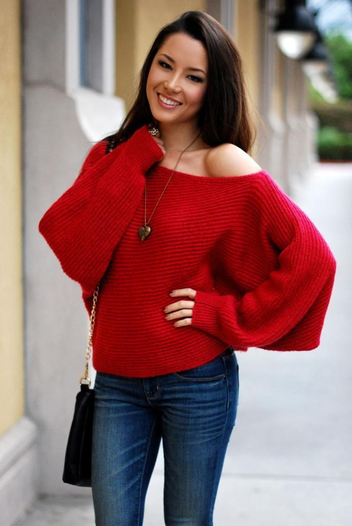 Off the shoulder red top outfit ideas