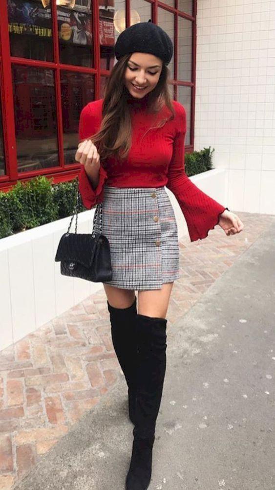Skater Skirt Outfit For Winter
