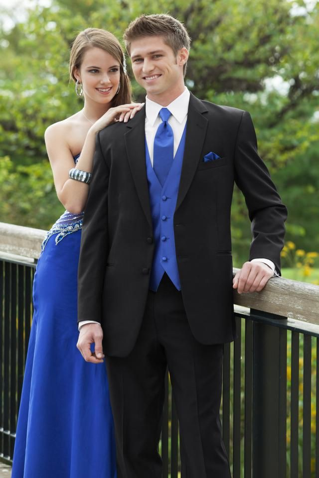 Matching Royal Blue Cute Prom Couple, Formal wear
