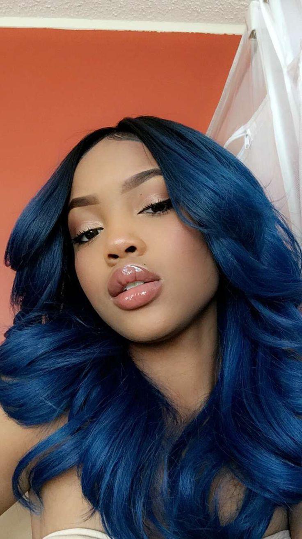 Blue hair color on brown skin