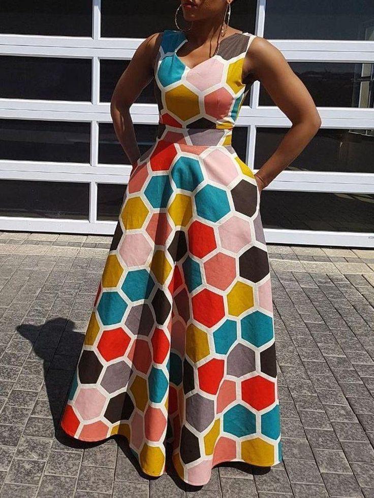 Stylish Ankara Dresses, Color Block Dress, Sleeveless shirt