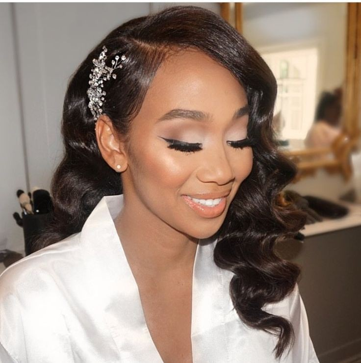 Wedding Day Hairstyles For Long Hair: Wedding Day Black Bride Hairstyles With Veil On Stylevore