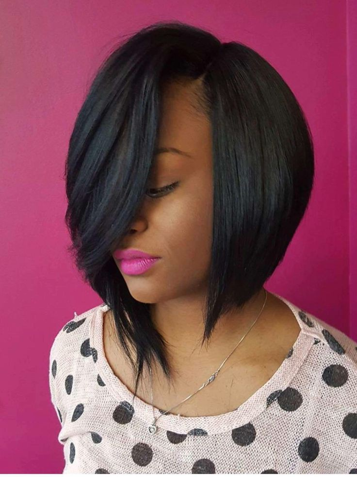 stylish Deep Side Part Black Bob Hairstyles 2019 on Stylevore