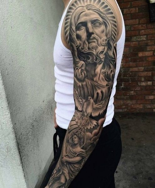 Proud To Wear These Jesus Sleeve Tattoos Sleeve Tattoo On Stylevore