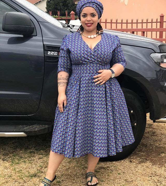 Traditional South African Shweshwe Dresses For Plus Size