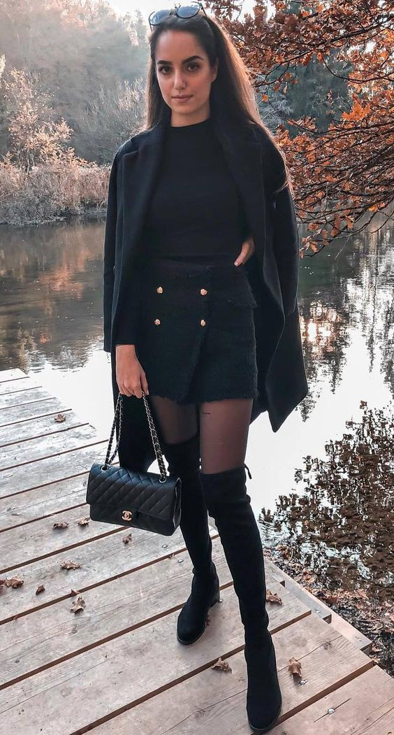 Over-the-knee boot with skirt outfit for cold weather