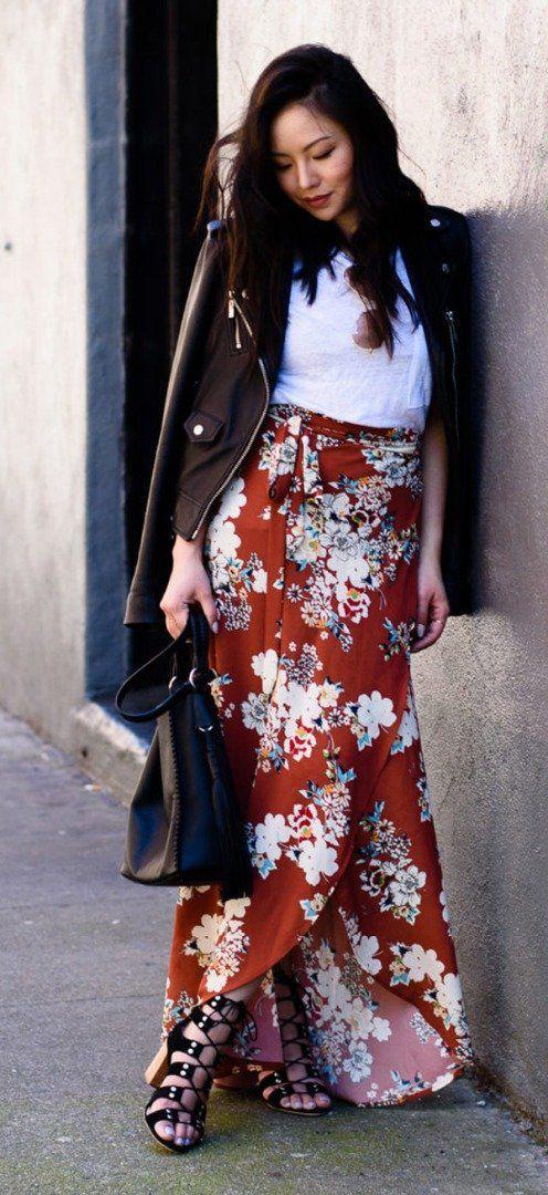 Ootd floral maxi skirt, Leather skirt