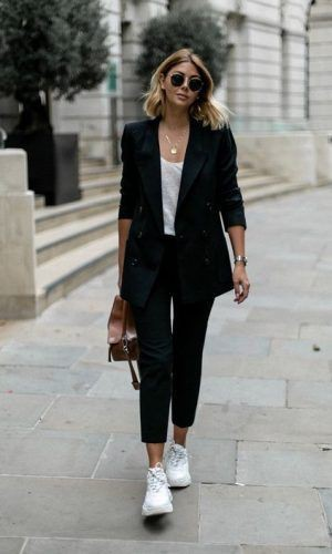 Black pants white sneakers Casual wear