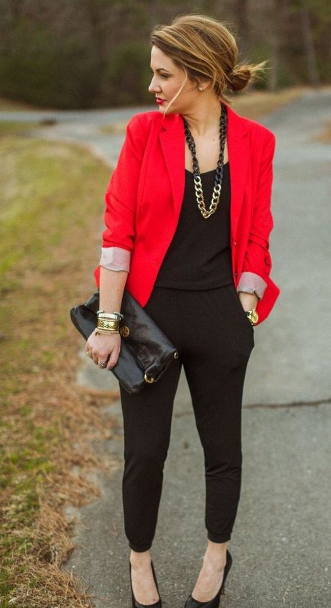 Red blazer outfit women, Casual wear
