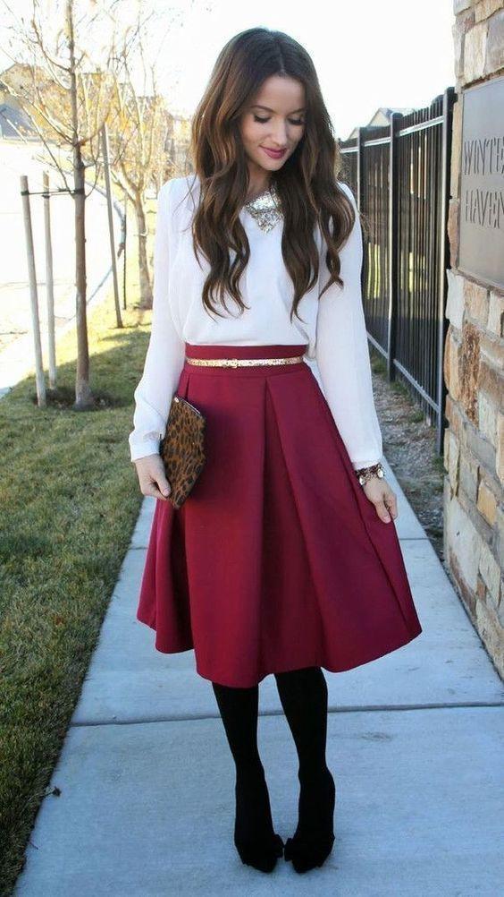 Church outfits for winter, Skater Skirt