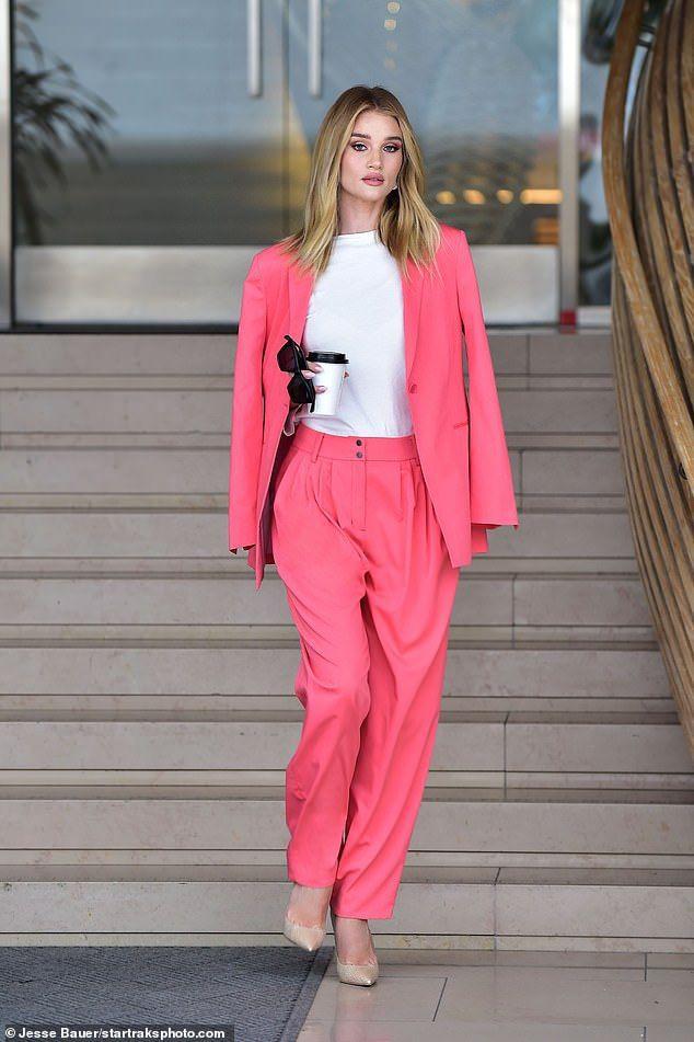 Rosie Huntington Whiteley pink suit