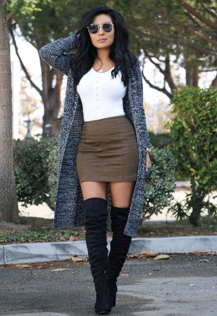 Skirt with thigh high boots summer outfits