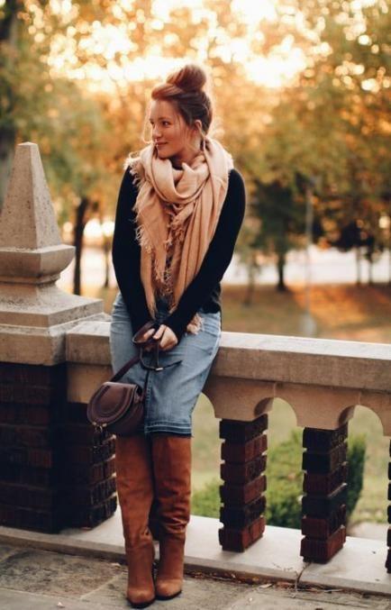 Jean skirt winter outfits, Denim skirt