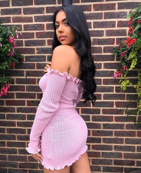 Knitted bardot dress pink, Bodycon dress
