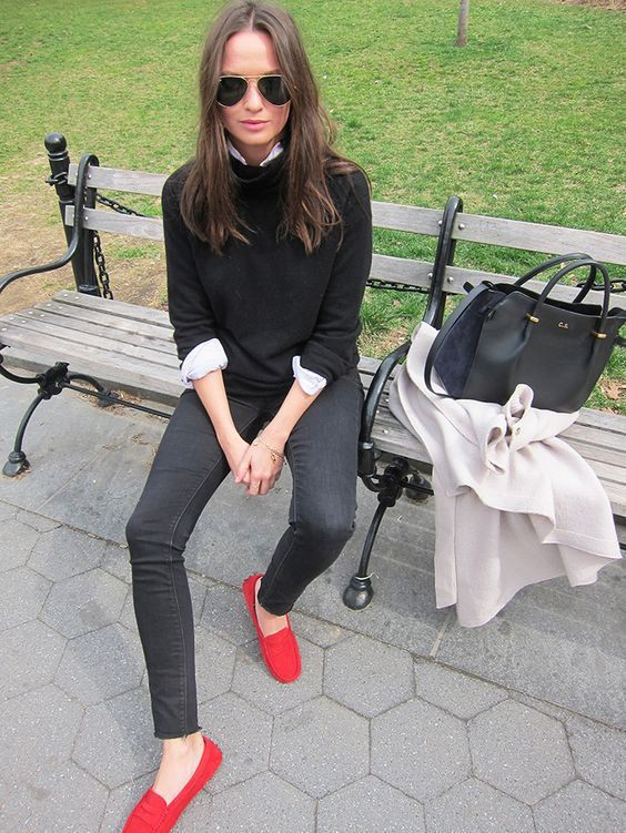 Beautiful red loafer outfit for girls