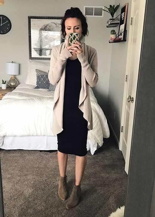 Astonishing ideas for winter church outfits, Black Midi Dress