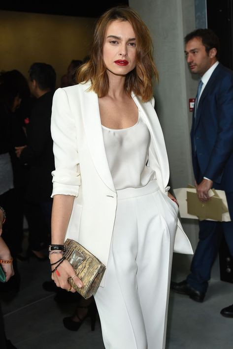 White suit work outfit women